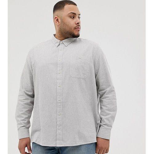 Burton Menswear Big & Tall regular fit shirt in grey stripe - Grey, kolor szary