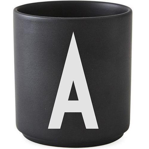 Kubek porcelanowy AJ czarny litera A