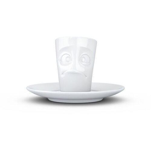 """- kubek do espresso - """"zdumiona buźka"""" - biały błyszczący marki 58products"""
