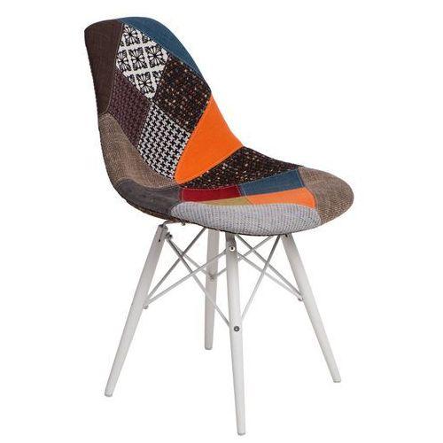 Krzesło P016W białe drewniane nogi (patchwork) D2, kolor niebieski