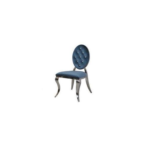 Krzesło Ludwik II glamour Blue - nowoczesne krzesła pikowane kryształkami, kolor niebieski