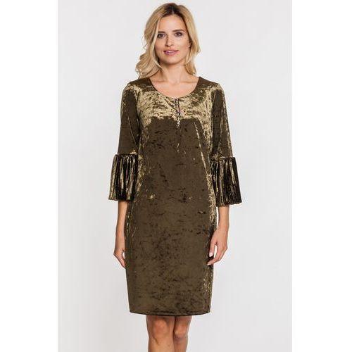 Margo collection Zielona, welurowa sukienka z hiszpańskimi rękawami -