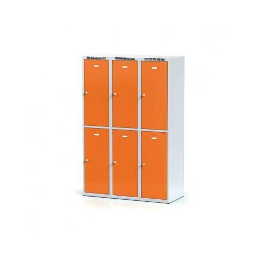 Alfa 3 Metalowa szafka ubraniowa 6-drzwiowa, drzwi pomarańczowe, zamek cylindryczny