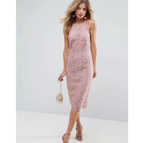 ASOS Scallop Pinny Lace Pencil Midi Dress - Pink