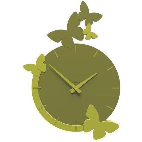 Zegar ścienny flight of the butterflies oliwkowo-zielony (50-10-3-54) marki Calleadesign