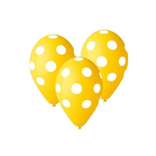 Balony pastelowe żółte Grochy - 30 cm - 5 szt. (8021886309720)