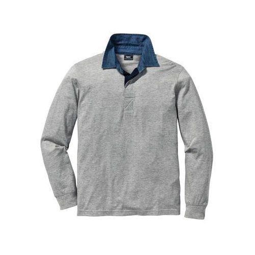 Shirt polo z długim rękawem Regular Fit bonprix jasnoszary melanż
