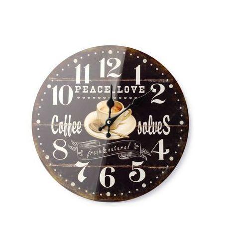 Zegar wiszący ścienny do powieszenia czarny coffe marki Home