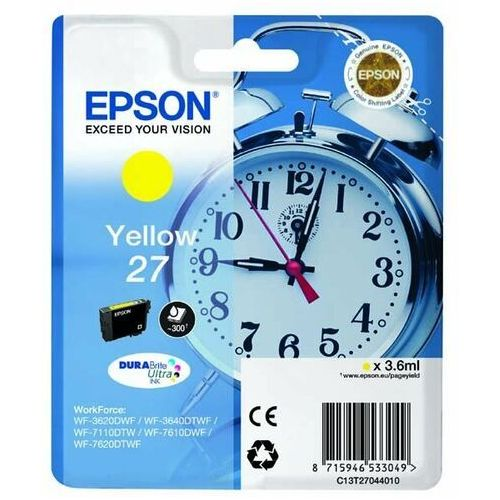 Epson oryginalny ink C13T27044020, 27, yellow, 3,6ml, Epson WF-3620, 3640, 7110, 7610, 7620