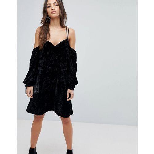 cold shoulder velvet mini dress in black - black, Y.a.s, 34-40