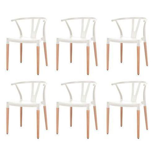 Komplet 6 krzeseł, białe, plastikowe siedziska i stalowe nogi marki Vidaxl