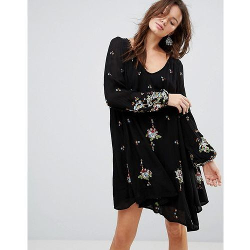 oxford embroidered mini dress - black marki Free people