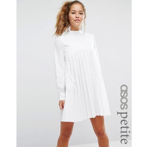 ASOS PETITE Long Sleeve Cotton Pleated Dress - White, kolor biały