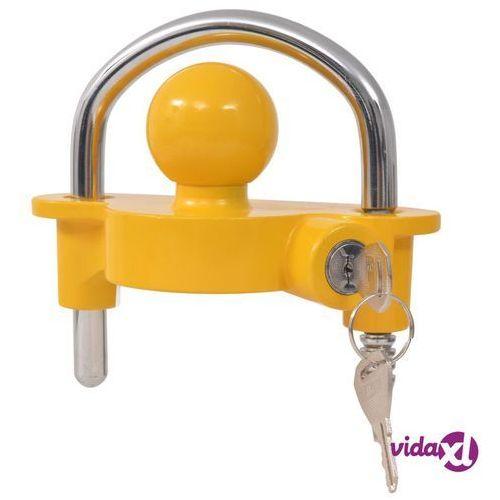vidaXL Blokada zaczepu kulowego z 2 kluczami, stal i aluminium, żółta