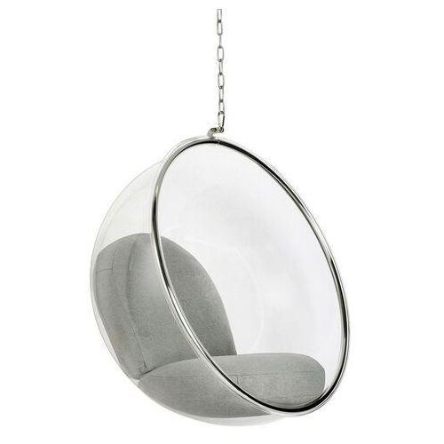 Sofa.pl Fotel wiszący bubble poduszka jasnoszara - korpus akryl, poduszka wełna