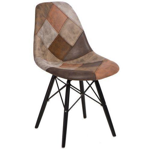 D2 Krzesło p016w insp. dsw patchwork na drewnianych nogach
