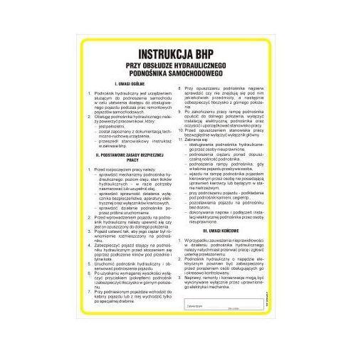 Top design Instrukcja bhp przy obsłudze podnośnika samochodowego hydraulicznego