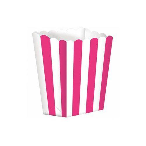Pudełka na popcorn w biało-różowe paski - 5 szt.