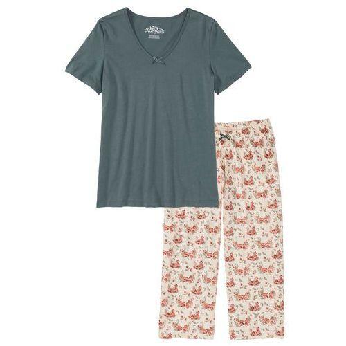 Piżama ze spodniami 3/4 bonprix zielono-beżowy z nadrukiem