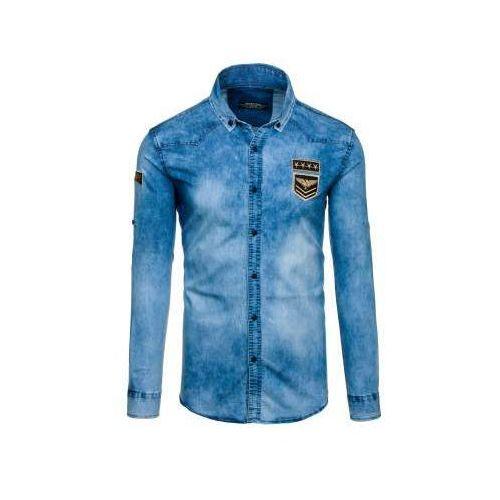Madmext Koszula męska jeansowa z długim rękawem niebieska denley 0992