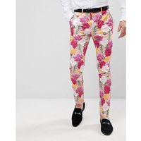 Asos wedding skinny crop smart trousers in pink floral print - pink