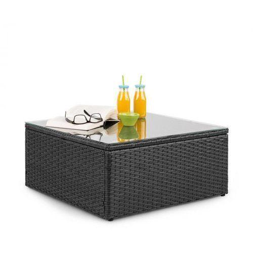 Blumfeldt Theia Table, stół ogrodowy, technorattan szklany blat, czarny (4060656151361)