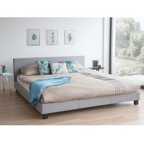 Łóżko szare - do sypialni - 160x200 cm - podwójne - tapicerowane - ORELLE