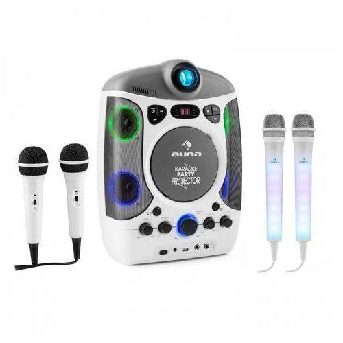 Kara projectura zestaw do karaoke biały + kara dazzl zestaw mikrofonów led marki Auna