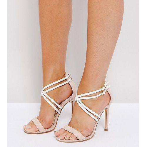wide fit double cross strap barely there sandals - beige, River island