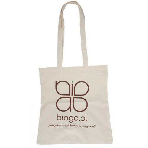 Torba bawełniana z naturalnej bawełny indyjskiej ecru z logo  marki Biogo.pl