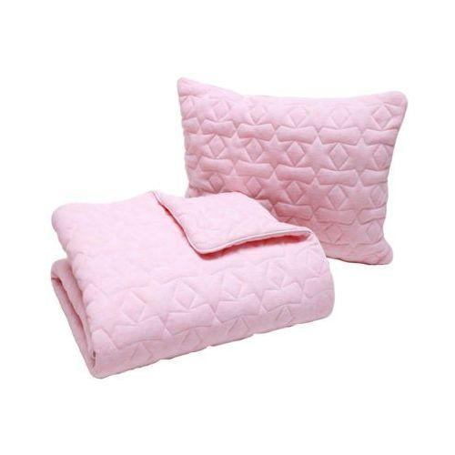bawełniany kocyk z wypełnieniem 80x100cm + poduszka 35x45cm pikowane gwiazdki różowy marki Pulp