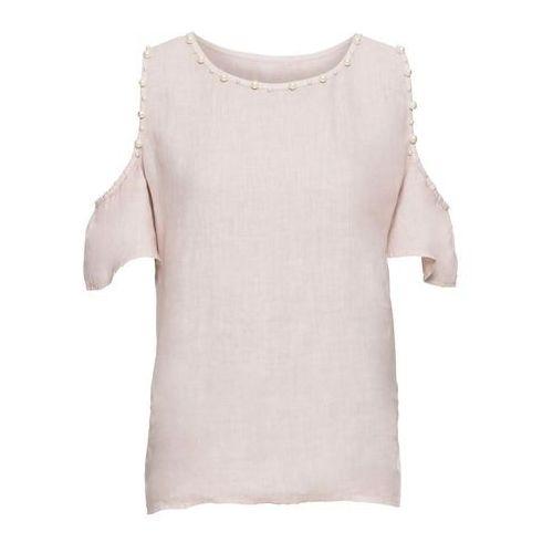 Shirt wiązany z falbanami bonprix naturalny