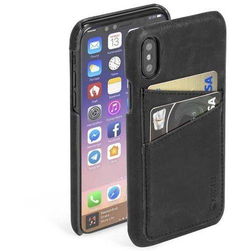 Krusell Sunne 2 Card Cover - Skórzane etui iPhone X z dwoma zewnętrznymi kieszeniami na karty (Black) (7394090611028)