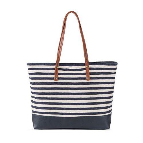 Torba shopper w marynarskim stylu bonprix kobaltowo-kremowy, kolor niebieski