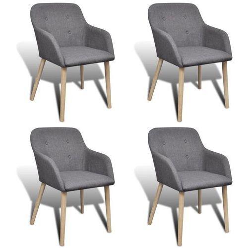 Krzesła do jadalni z dębową ramą, 4 szt., materiał, ciemnoszare