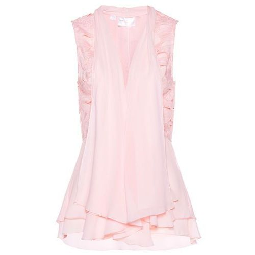 Kamizelka bluzkowa z koronką bonprix pastelowy jasnoróżowy, kolor różowy