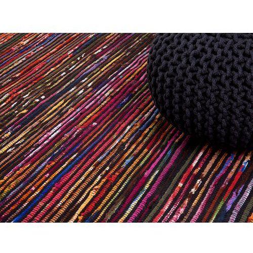 Dywan - wielokolorowo-czarny - 80x150 cm - bawełna - handmade - bartin marki Beliani