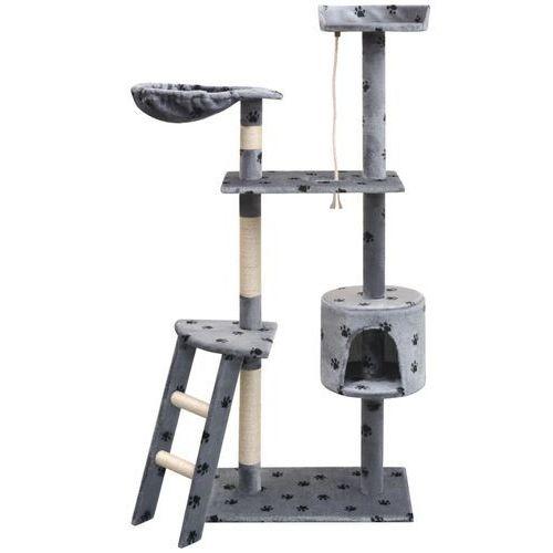 vidaXL Drapak dla kota, 150 cm, szary ze wzorem w kocie łapki (8718475522874)
