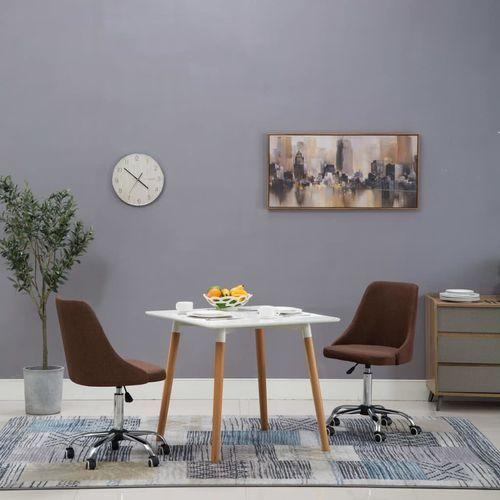 Krzesła na kółkach do jadalni, 2 szt., tkanina, brązowe marki Vidaxl