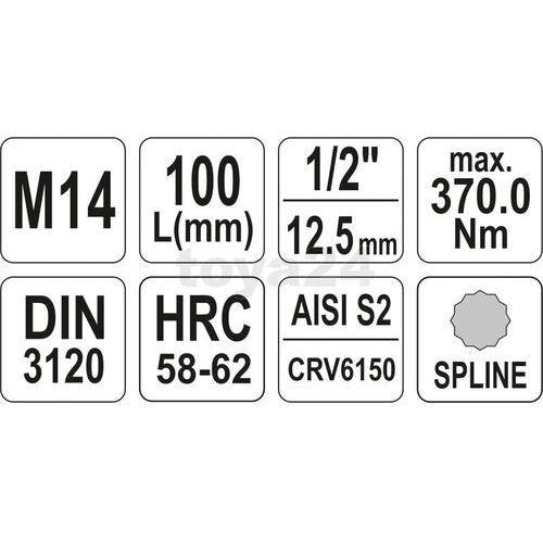 """KLUCZ TRZPIENIOWY SPLINE 1/2"""" M14 L100MM / YT-04355 / YATO - ZYSKAJ RABAT 30 ZŁ, YT-04355"""