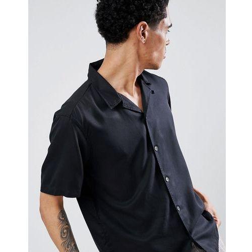 Pull&Bear Join Life Shirt With Revere Collar In Black - Black, kolor czarny