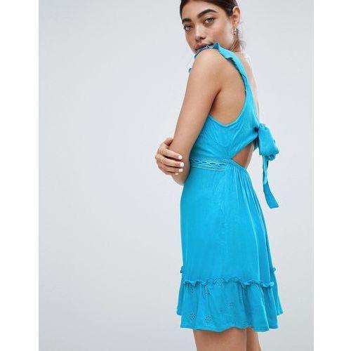 River island bow back cut out beach dress - blue