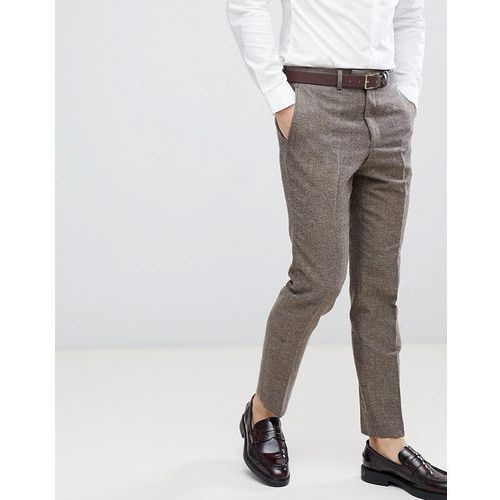 French Connection Semi Plain Donegal Slim Fit Suit Trousers - Tan