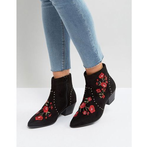 festival rose embroidered ankle boots - black marki New look