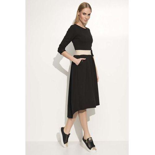 Czarna Sukienka Asymetryczna Midi z Podkreśloną Talią, kolor czarny