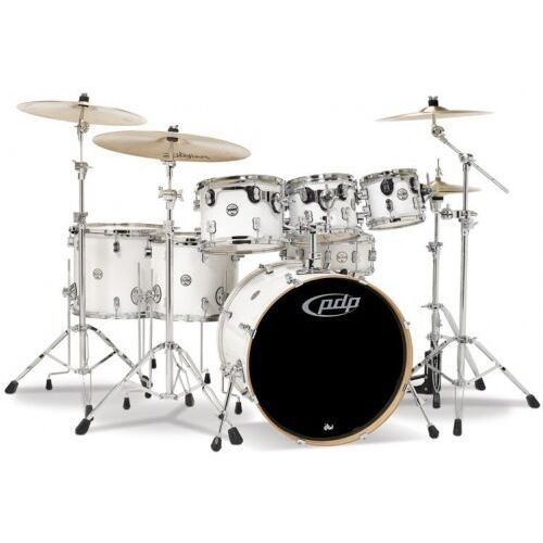 by dw drumset concept maple, pearlescent white marki Pdp