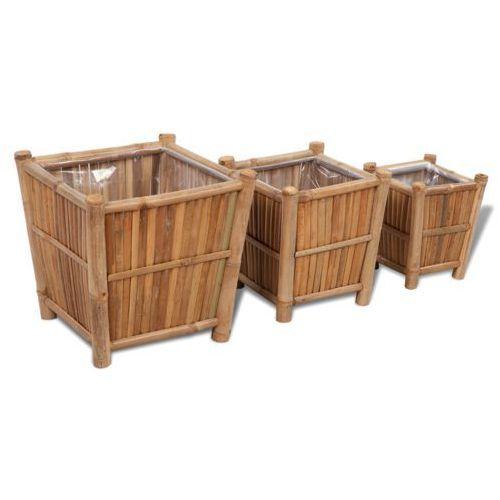 vidaXL Zestaw trzech bambusowych koszy/doniczek z nylonowym podszyciem