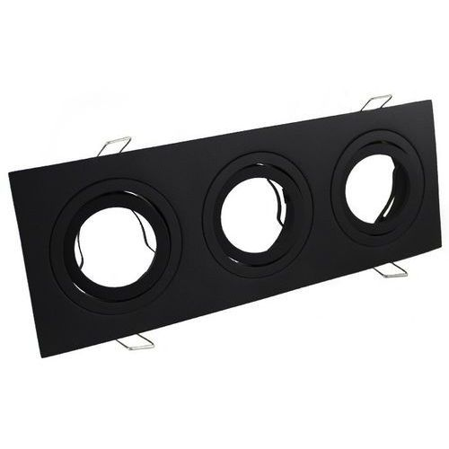 Oprawa halogenowa aluminium potrójna LED czarna mat