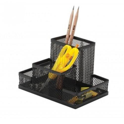 Przybornik na biurko Q-CONNECT Office Set, metalowy, 4 komory, czarny (5705831151123)