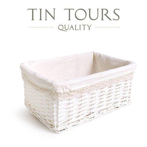 Biały koszyk z wyszyciem / szuflada wiklinowa 42x30x18 cm marki Tin tours sp.z o.o.